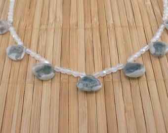 Moss Agate Necklace Tiny Geode Necklace Green Gemstone OOAK Moss Agate Brio Necklace Sterling Rare Gem Dark Green Natural Stone White Bead