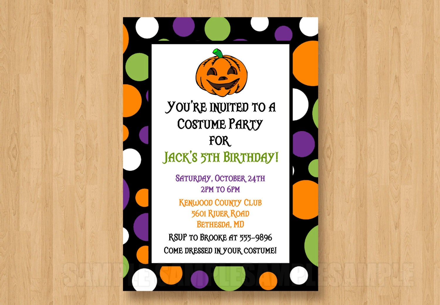 Jack O Lantern Pumpkin Halloween Birthday Party Personalized Invitation Jpeg File