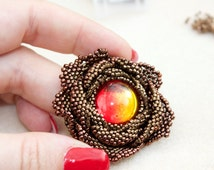 TUTORIAL - Victorian Rose, DIY pendant with seed beads; contains freeform peyote elements