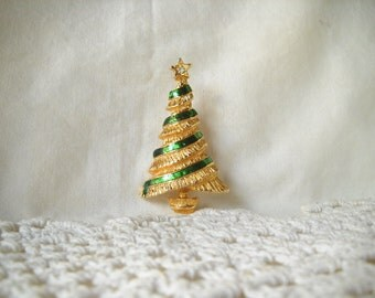 Vintage Brooch Vintage Christmas Tree Pin Christmas Brooch Holiday Jewelry