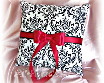 Madison damask and red wedding ring bearer pillow, damask ring cushion