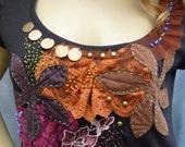 Sundazed boho top wearable art embroidered completely handmade size 10-14