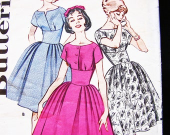1950s Dress Pattern Junior size 13 Bust 33 Full Skirt High Curved Midriff Dress Bateau Neckline Vintage Sewing Pattern