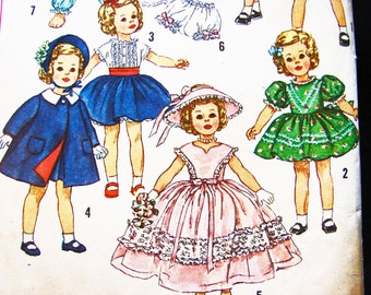 1950s Doll Clothes Pattern 17 inch Doll Pattern Shirley Temple Doll Pattern Vintage Sewing Pattern 50s