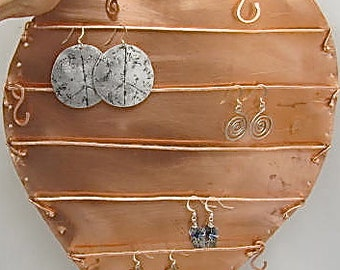 Copper Heart Jewelry Display. Jewelry Hanger. Heart Wall Fixture. Home Decor Heart. Large Copper Heart.Includes 1 pair of my Earrings.