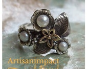 Floral ring, botanical ring, woodland ring, Engagement Ring, Sterling silver and gold ring, pearl ring, two-tone ring - Just flowers. R1696A