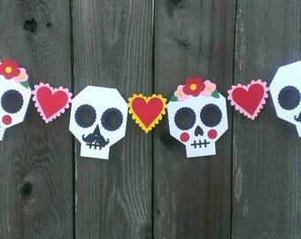 Halloween Party, Sugar Skulls, Bride and Groom, Mexican Wedding Garland, Day of the Dead, Dia de los Muertos