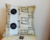 Pillow...Decorative Throw Pillow...Leather and Burlap...Hand Made