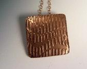 OOAK Textured Bronze Gold Pendant Necklace Unique