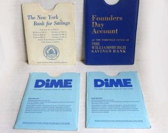Vintage New York City Blue White Banking Paper Ephemera, Dime Savings, Williamburgh Savings, New York Bank for Savings Passbooks Holders