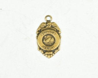 Police Badge Charm with ring antiqued finish sold 3 each 15174