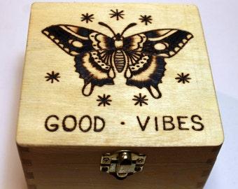 Wood burned box with Sailor Jerry butterfly design! Great jewelry box, keepsake box, memory box, trinket box, photo box, tarot box,stash box
