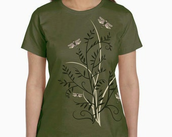 Women's Plus Size Dragonfly T-Shirt, Dragonflies shirt, Dragonfly floral print top, olive t-shirt, gift
