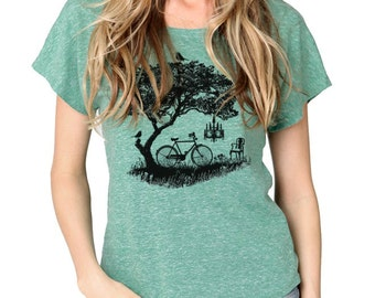 Bicycle shirt, Tree, Birds, Women's Graphic tee, Women's Boxy T-shirt, Dolman TriBlend, Gift for her