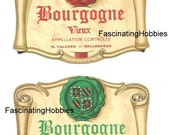 Vintage - Vieux BOURGOGNE - BURGUNDY by Marc Talvard - 2  French Printed red and green paper LABELS - years 1960 - both very good condition