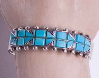 Turquoise Bracelet - Navajo Mosaic Opal Inlay Cuff - Signed Navajo Arts & Crafts Enterprise