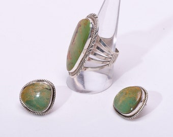 Navajo Ring & Post Earrings Set - Green Kings Manassa Turquoise - Will Denetdale - sz 8 1/2