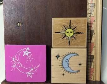 Moon and Sun Rubber Stamper Lot