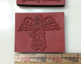 Angel and Seasons Greetings rubber stamper lot