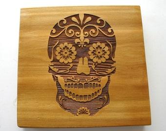 Sugar Skull Engraved Cedar Sign Day of the Dead Rustic Wood Sign Laser Engraved