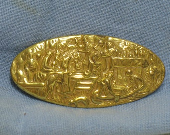 Vintage Miriam Haskell Gold Tone Oval Pin Brooch Embossed Scene of People Animals Town