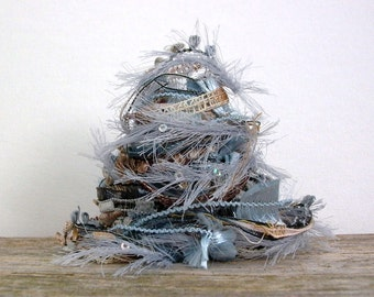 earth and sky fiber effects™  12yds specialty art yarn bundle embellishment ribbons sequins  . brown light blue cream