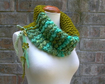 photosynthesis. handknit bohemian cowl . chunky knit neck warmer . handspun wool recycled sari silk ribbon . aqua moss chartreuse green