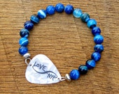 Infinity Love NYC Guitar Pick Bracelet with Blue Agate Beads New York City rocker musician music unisex black white mens bracelet travel