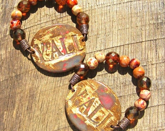 YALL Southern Saying Rustic Stretch Bracelet with Czech Glass and Wood Beads brown bronze Southern phrase word country chic Southern charm