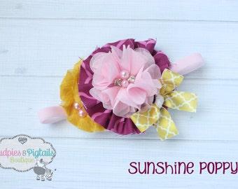 baby headband { Sunshine Poppy } pink, mustard, fuschia, vintage, Cake smash, first birthday shabby chiffon Flower photography prop