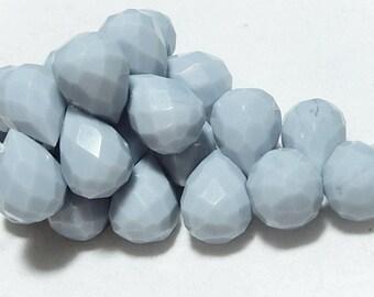 Faceted Teardrop Light Blue Briolette Pendant Drop, 14x10mm. Glass Quartz Gemstone. Semi Precious Gemstone. Packet of 2 - SALE - WAS 3.50