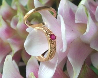 Ruby Mimi Bridal Set in 20k Yellow Gold, Forged by Hand with Handcarved Roses, Ready to Ship