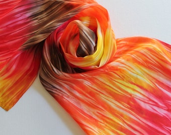 Hand Painted Silk Scarf - Handpainted Scarves Autumn Fall Bright Orange Red Gold Yellow Chocolate Brown Foliage Warm Dyed