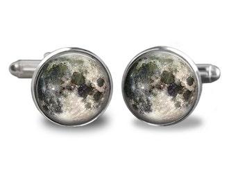 Full Moon Cufflinks,Solar System Cuffliks,Full Moon ,Groom Cuff links,Groomsmen Keepsake,Men Cufflinks,astronomy Cufflinks