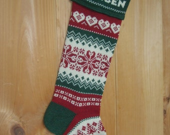 Wool Christmas Stocking, woven hearts, personalized