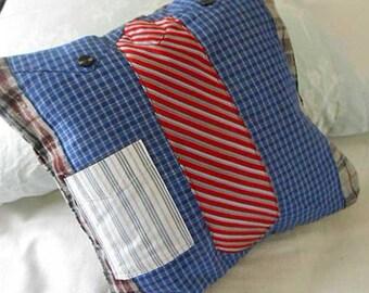 Classic Blue SHIRT & Rose NECKTIE PILLOW Cover, Gray Burgundy Plaid Eddie Bauer Brooks Bros Reused Garments, Fiber Art, Preppy Guy Gift
