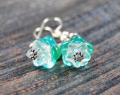 CLEARANCE- Pretty Blooms - Flower Themed Earrings - Aqua & Clear