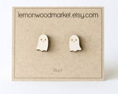 Ghost earrings - alder laser cut wood earrings - Halloween earrings