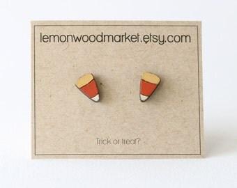 Candy corn earrings - alder laser cut wood earrings - Halloween earrings