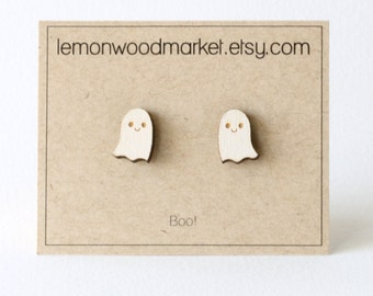 Ghost earrings - alder laser cut wood earrings - Halloween earrings