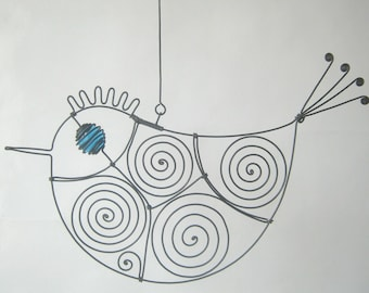Turquoise - Eyed Wire Bird Sculpture / Hanging Ornament