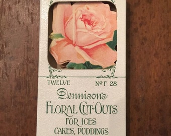 Antique Dennison flower picks full box