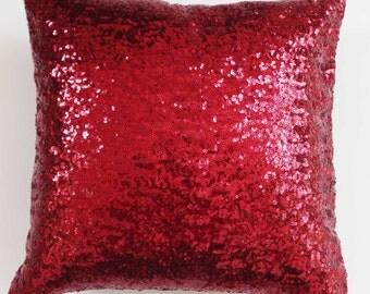 Maroon festive  cushion covers, maroon sequin  Throw Pillow, festive season pillow,  12 inch wedding decorative pillow cover, custom made