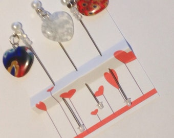 Millefiori Heart Stick Pins - Heart Dangle Pins - Valentine Pins - Embellishment for Cardmaking or Scrapbooking - Pincushion Pins