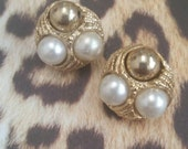 Vintage Gold Tone Faux Pearl Clip On Earrings Bridal Wedding