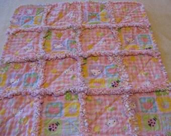 Hello Kitty Baby Girl Rag Quilt Blanket 29x29