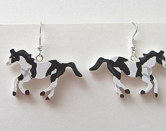 Wooden PAINT HORSE Hand-painted Frenchwire Earrings....choose brown or b/w paint