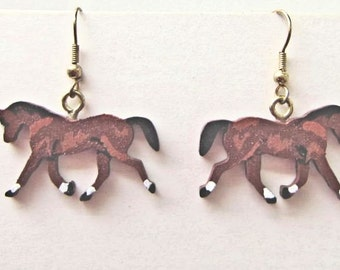 Markdown Sale...Wooden TROTTING HORSE Hand-painted Frenchwire Earrings...choose bay, chestnut or white