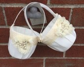 Two Flower girl baskets / ivory or white / chiffon puff with rhinestones / best seller / custom colors