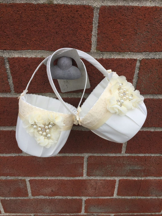 Flower Girl Baskets Ivory Uk : Two flower girl baskets ivory or white by